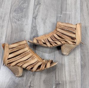 Pikolinos Brown Leather Heeled Sandals Spain Sz 5